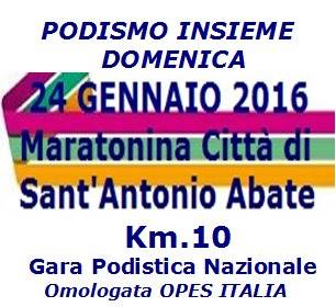 Domenica 24 Gennaio 2016 la Maratonina Città di Sant'Antonio Abate