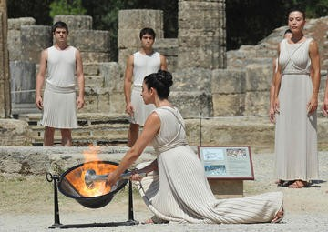 GREECE-OLYMPIA-2010 YOUTH OLYMPIC GAMES-FLAME LIGHTING