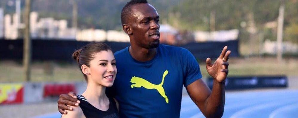 Bolt e l'incontro con  l'azzurra Sara Galimberti
