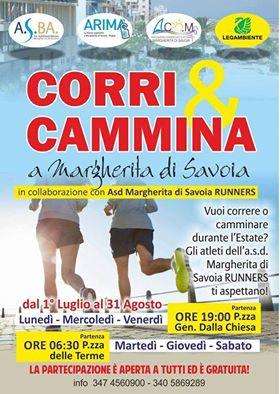 """Attività estive """"CORRI E CAMMINA A MARGHERITA DI SAVOIA"""" nella splendida provincia di Barletta-Andria-Trani"""