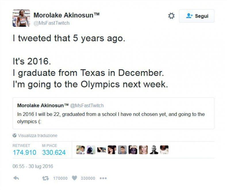 """I tweet migliore dell'atletica: """"Tra 5 anni sarò a Rio"""", il sogno si è avverato"""