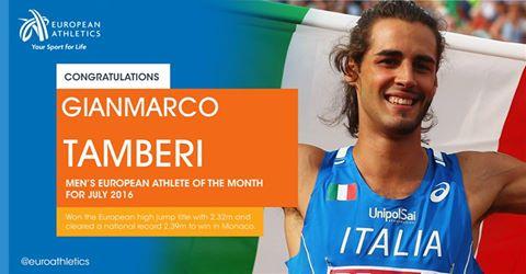 Gianmarco Tamberi è stato eletto atleta europeo di luglio, premiato dall'affetto dei suoi tanti tifosi