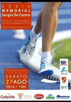 """Sabato 27 agosto  il XXXIV° Memorial """"Sergio De Castro"""" ad Isernia"""