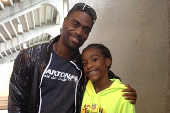 Sprinter Tyson Gay with daughte, Trinity Gay credit: Twitter
