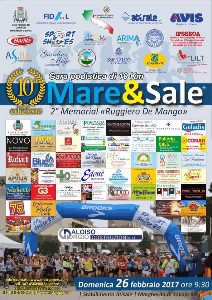 """Gara podistica """"10° Mare 6 Sale"""": si corre  domenica a Margherita di Savoia"""