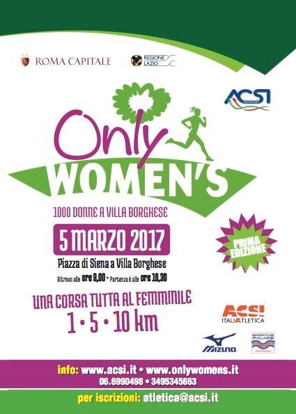 La Sindaca Raggi: «Only Women's – 1000 donne a Villa Borghese, una bellissima giornata di festa all'insegna dello sport»