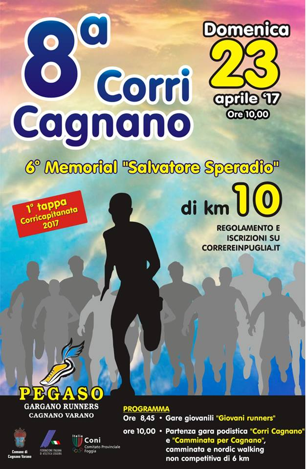 Domenica 23 aprile torna la CorriCagnano, gara podistica di 10 km.