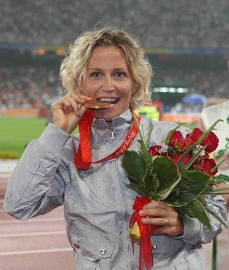 Foto Omega/Giancarlo Colombo Pechino Cina 21/08/2008 Olimpiadi Beijing 2008 Atletica femminile marcia 20km. Nella foto 3.classificata medaglia di bronzo Elisa Rigaudo