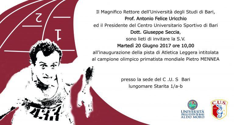 Pietro Mennea: inaugurata oggi la pista del Cus Bari intitolata al compianto campione olimpico