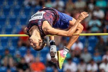 epa06054466 Gianmarco Tamberi of Italy in action during the men's high jump competition at the IAAF World challenge Golden Spike athletics meeting in Ostrava, Czech Republic, 28 June 2017. EPA/MARTIN DIVISEK