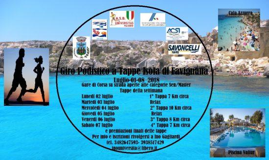 Giro Podistico a Tappe Isola di Favignana,  1 – 8 luglio 2018