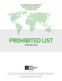 WADA pubblica l' elenco delle sostanze e dei metodi proibiti per il 2018