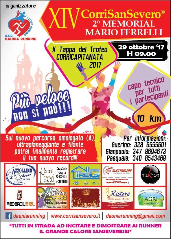 Domenica 29 ottobre la XIV^ Corri San Severo 10km, 10^ Tappa CORRICAPITANATA 2017 di Matteo SIMONE