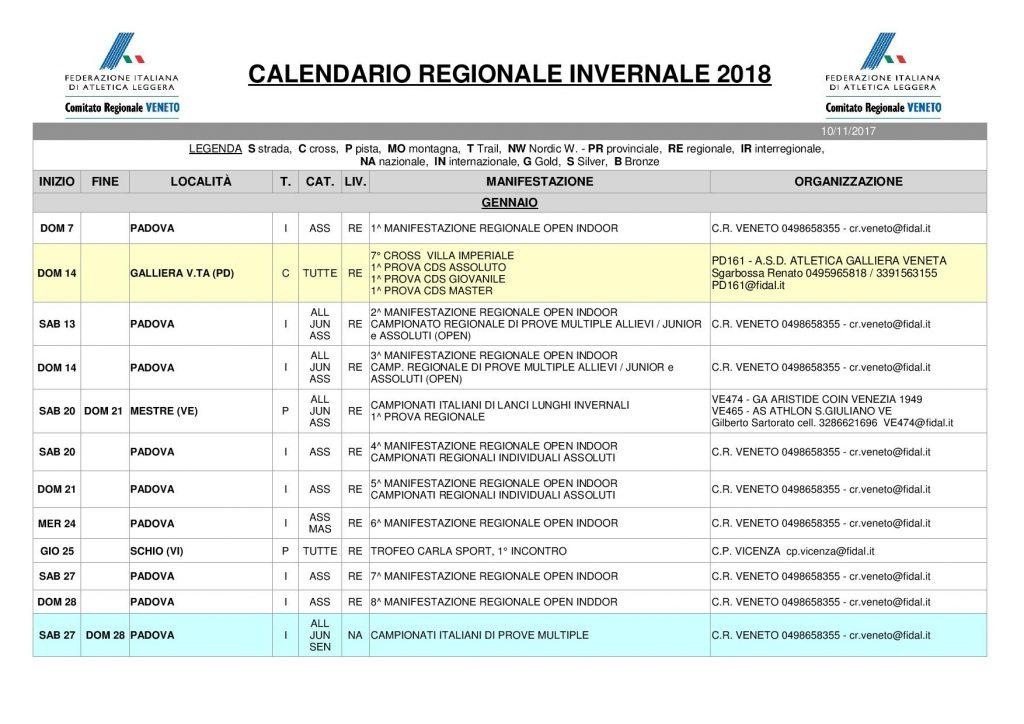 Indoor Padova: ecco il calendario 2018