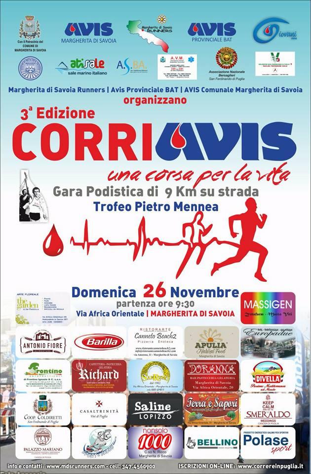 Domenica 26 novembre torna la CorriAvis a Margherita di Savoia