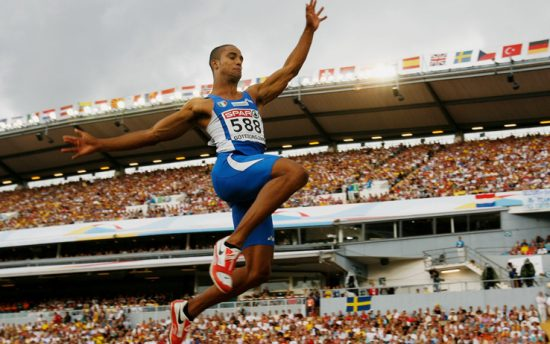 GOTHENBURG, SWEDEN - AUGUST 08: Andrew Howe of Italy competes during the Men's Long Jump Final on day two of the 19th European Athletics Championships at the Ullevi Stadium on August 8, 2006 in Gothenburg, Sweden. (Photo by Ian Walton/Getty Images)