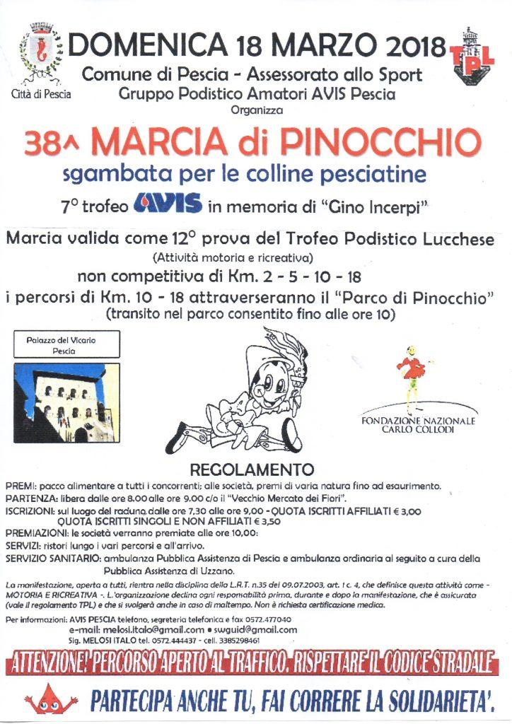 Donenica la 38esima edizione della ''Marcia di Pinocchio - Trofeo Avis in memoria di Gino Incerpi''