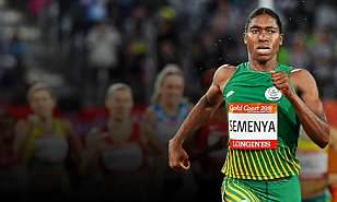 TOPSHOT - South Africa's Caster Semenya competes in the athletics women's 1500m final during the 2018 Gold Coast Commonwealth Games at the Carrara Stadium on the Gold Coast on April 10, 2018. / AFP PHOTO / SAEED KHANSAEED KHAN/AFP/Getty Images