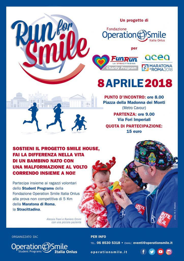 Ritorna Run for Smile, la corsa non competitiva all'interno della Maratona di Roma