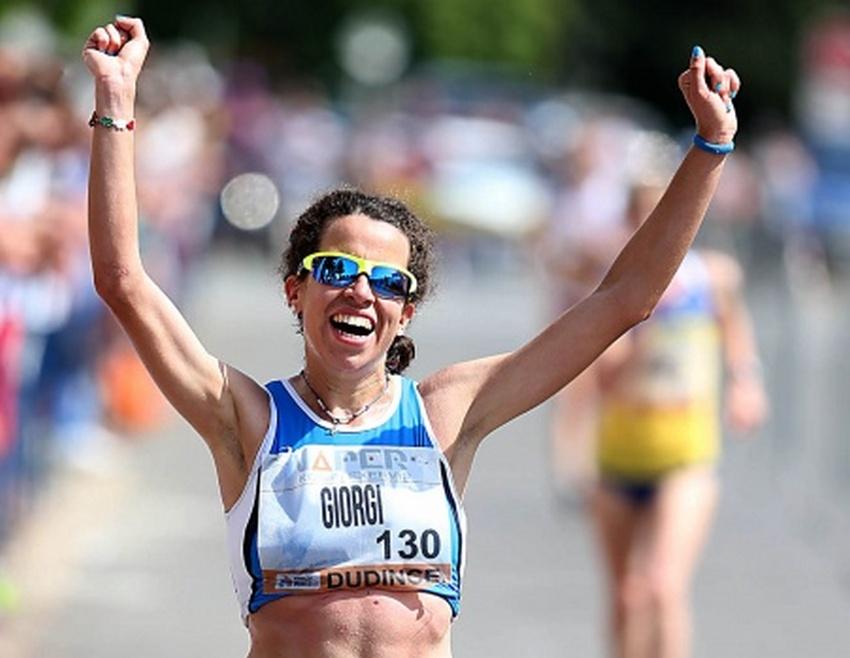 Eleonora Giorgi vincente a Milano nei 5 km. di marcia