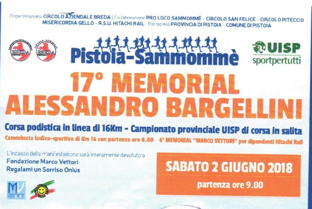 """Oggi il """"Memorial Alessandro Bargellini'', gara podistica competitiva valida anche come Campionato Provinciale UISP di corsa in salita"""