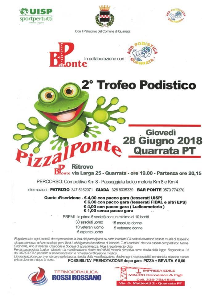 """Oggi a Quarrata si corre il 2° trofeo podistico """"Pizza il Ponte"""""""