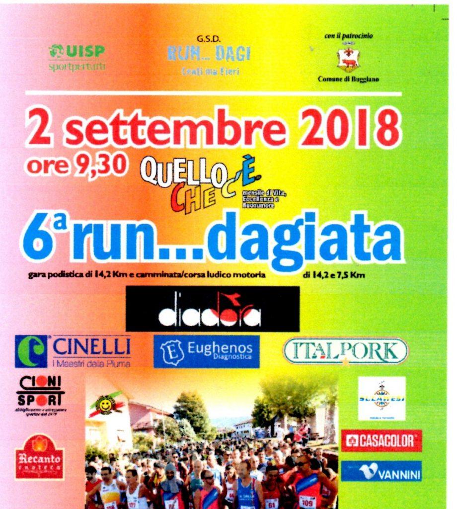 """Domenica si corre """" Run....dagiata'',gara podistica competitiva di km 14,200"""