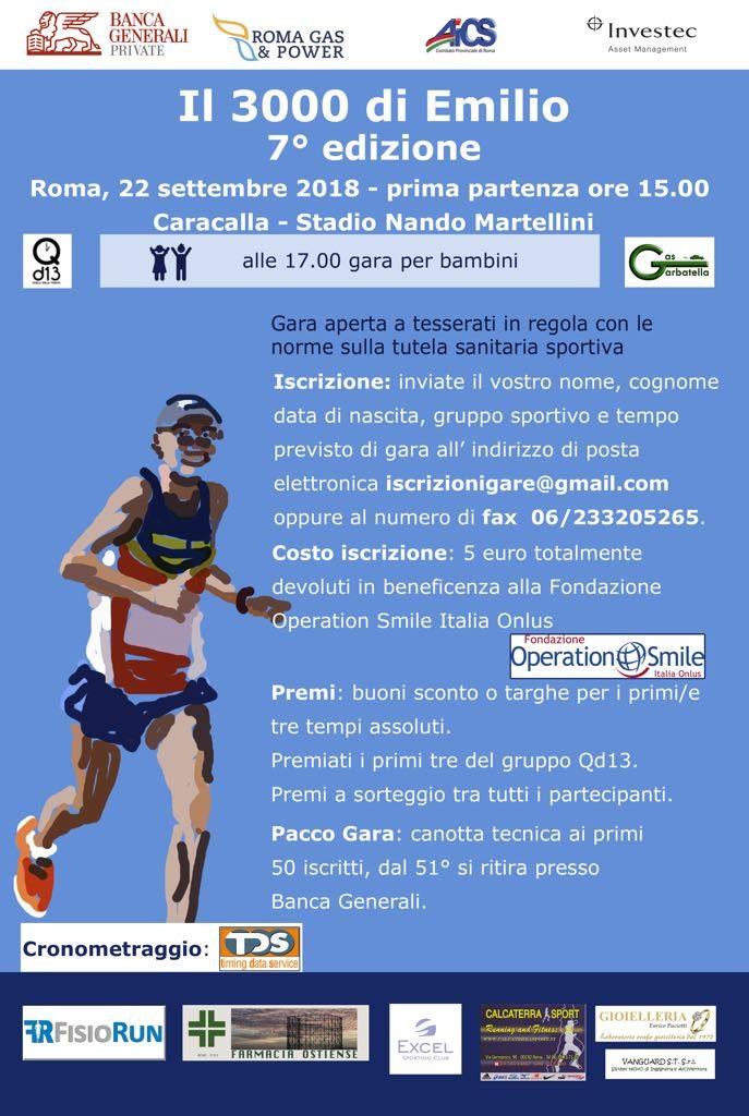 """Torna """"il 3000 d'Emilio"""", gara podistica in programma sabato 22 settembre alle Terme di Caracalla"""