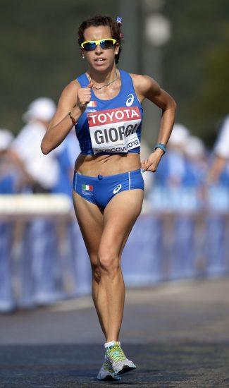 ansa - eleonora giorgi - epa03822825 Italy's Eleonora Giorgi competes during the women's 20km Walk at the 14th IAAF World Championships at Luzhniki stadium in Moscow, Russia, 13 August 2013. EPA/CHRISTOPHE KARABA