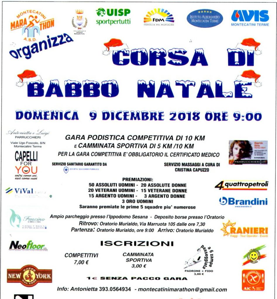 Domenica 9 dicembre a Montecatini si corre la 'Corsa di Babbo Natale'