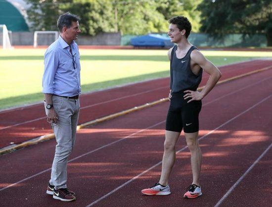 Il finanziere Filippo Tortu che ha stabilito nel Meeting di Madrid, il primato italiano dei 100 mt., superando il precedente record, conseguito da Pietro Mennea alle Universiadi del 1979 a Città del Messico, 23 giugno 2018. ANSA