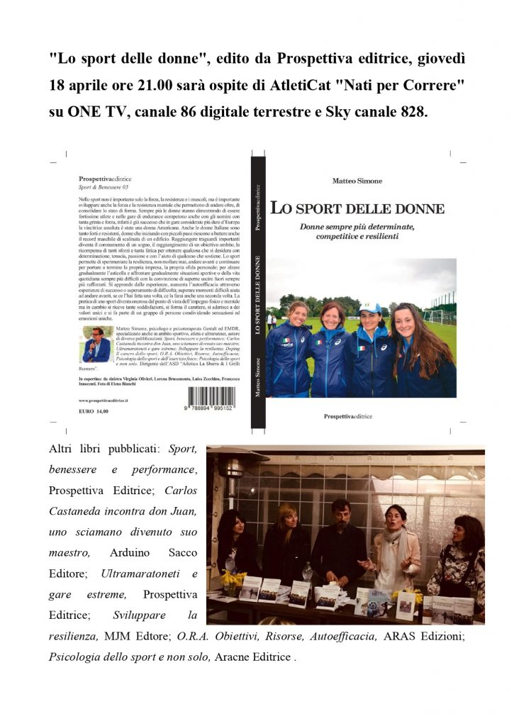 """""""Lo sport delle donne"""" giovedì 18 aprile ore 21.00 ospite di AtletiCat- di Matteo SIMONE"""