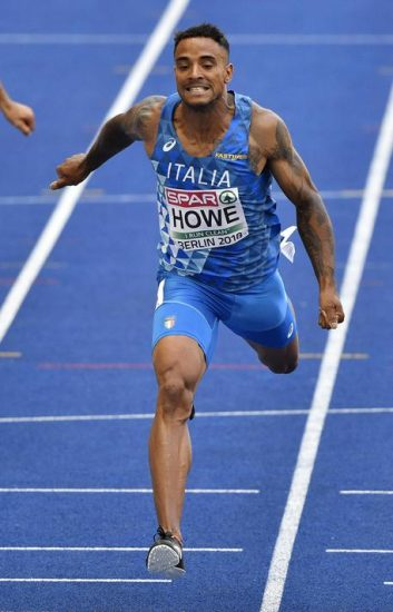 Italy's Andrew Howe crosses the line of a men's 200-meter heat at the European Athletics Championships in Berlin, Germany, Wednesday, Aug. 8, 2018. (ANSA/AP Photo/Martin Meissner) [CopyrightNotice: Copyright 2018 The Associated Press. All rights reserved]