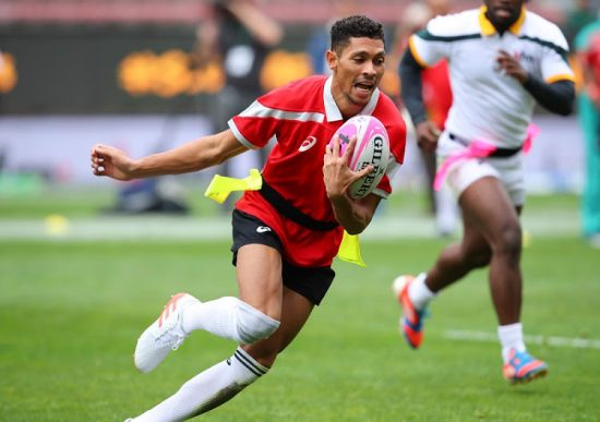CAPE TOWN, SOUTH AFRICA - OCTOBER 07: Wayde van Niekerk during the Celebrity TAG match between the Aden Thomas All Stars and the Carl Wastie Invitational side, the curtain-raiser to the Castle Lager Rugby Championship Test between the South Africa and New Zealand at DHL Newlands October 07, 2017 in Cape Town, South Africa. (Photo by Roger Sedres/ImageSA/Gallo Images)