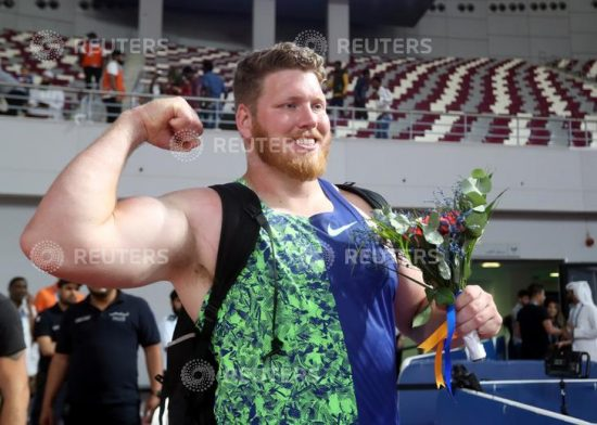 Athletics - Diamond League - Doha - Khalifa International Stadium, Doha, Qatar - May 3, 2019   Ryan Crouser of the U.S. celebrates winning the men's shot put    REUTERS/Ibraheem Al Omari
