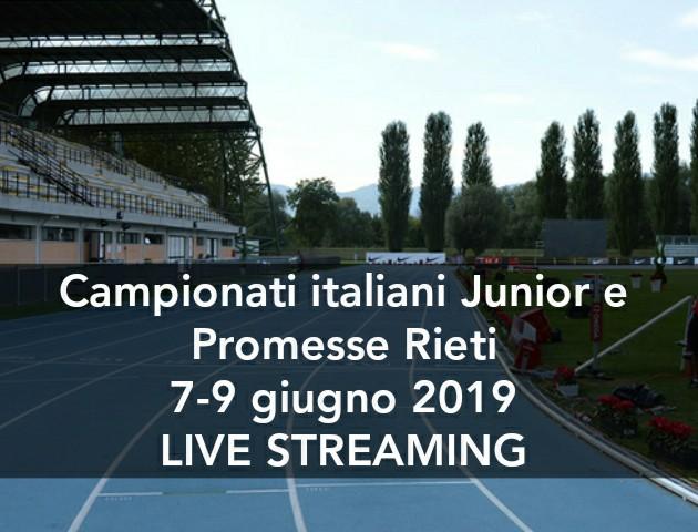Tricolori junior e promesse Rieti: tutto pronto, venerdi si parte-la diretta streaming