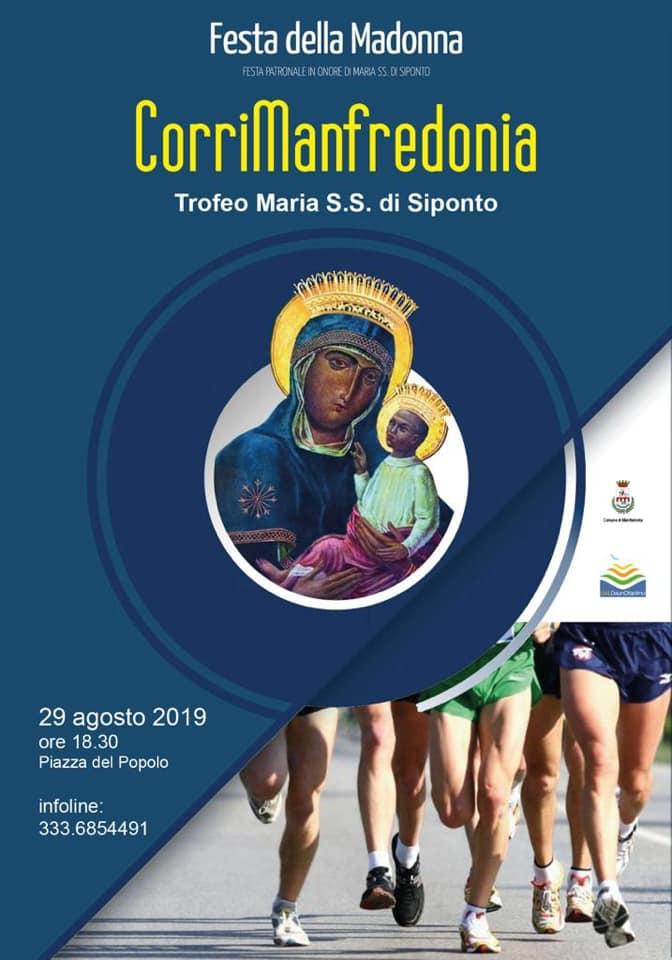 """""""CorriManfredonia"""" - Trofeo Madonna S.S. di Siponto, corsa su strada di Km 9  Giovedì 29 agosto 2019 ore 18.00 in Manfredonia- di Matteo SIMONE"""