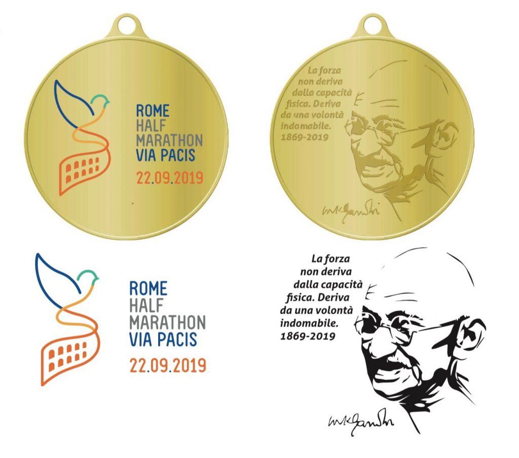 Roma half marathon Via Pacis: la medaglia ricorda il Mahatma Gandhi