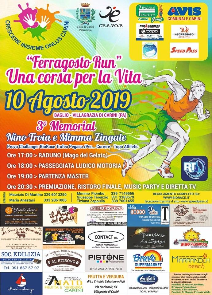 """Podismo: Ritorna a Villagrazia di Carini la """"Ferragosto Run - Una Corsa per la Vita"""" il via sabato 10 agosto dalle ore 18:00."""