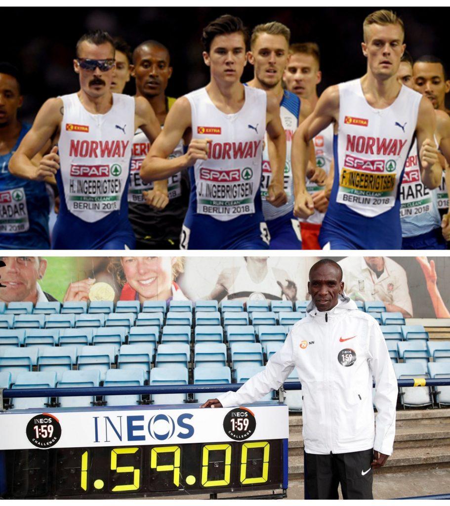 I fratelli Ingebrigtsen autorevoli pacemaker di  Kipchoge nella caccia al  sub due ore nella maratona di Vienna