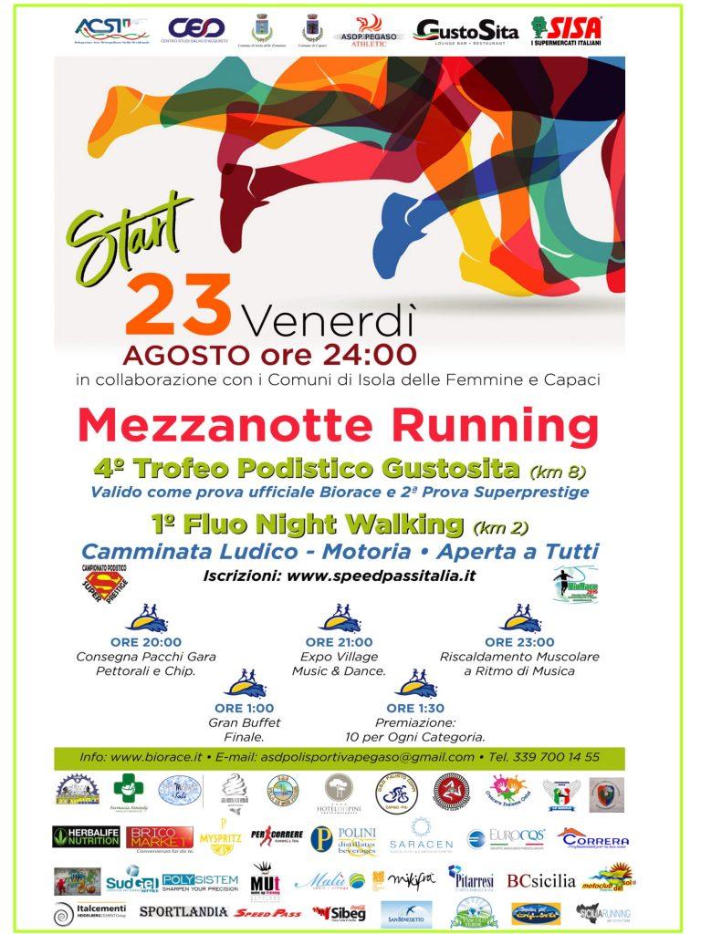 Podismo: Tutto pronto per l'evento podistico dell'estate 2019 la Mezzanotte Running di corsa sul lungomare di Isola delle Femmine e Capaci.