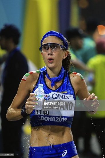 DOHA, QATAR -SEPTEMBER 29: Antonella Palmisano of Italy competes in the Women's 20km Race Walk during the IAAF World Athletics Championships 2019 at the Al Corniche Water Front in Doha, Qatar, 29 September 2019. (Photo by Serhat Cagdas/Anadolu Agency via Getty Images)