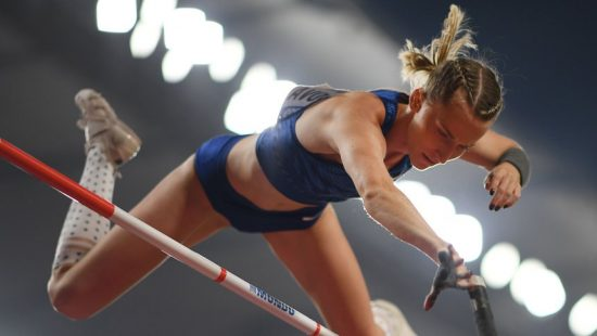 Russia's Anzhelika Sidorova competes in the Women's Pole Vault final at the 2019 IAAF World Athletics Championships at the Khalifa International Stadium in Doha on September 29, 2019. (Photo by Kirill KUDRYAVTSEV / AFP)