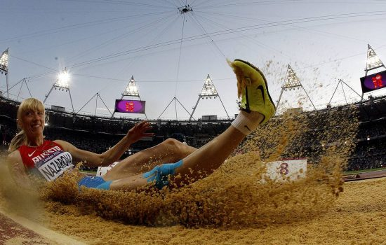 epa03351328 Anna Nazarova of Russia competes in the Women's Long Jump Final at the London 2012 Olympic Games Athletics, Track and Field events at the Olympic Stadium, London, Britain, 08 August 2012.  EPA/KERIM OKTEN