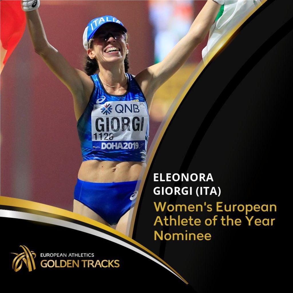 """Eleonora Giorgi candidata per """"atleta  europea del 2019"""""""