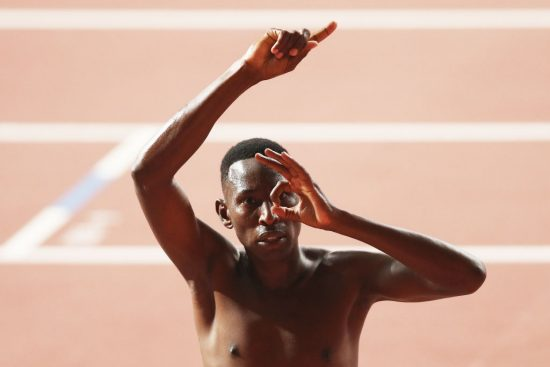 DOHA, QATAR - OCTOBER 04: Conseslus Kipruto of Kenya celebrates winning gold in the Men's 3000 metres Steeplechase final during day eight of 17th IAAF World Athletics Championships Doha 2019 at Khalifa International Stadium on October 04, 2019 in Doha, Qatar. (Photo by Patrick Smith/Getty Images)