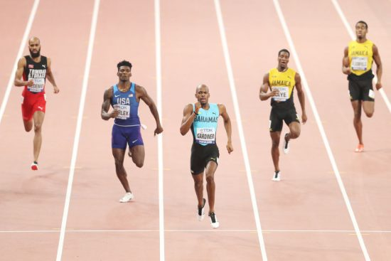 DOHA, QATAR - OCTOBER 04: Steven Gardiner of the Bahamas competes in the Men's 400 metres final during day eight of 17th IAAF World Athletics Championships Doha 2019 at Khalifa International Stadium on October 04, 2019 in Doha, Qatar. (Photo by Patrick Smith/Getty Images)