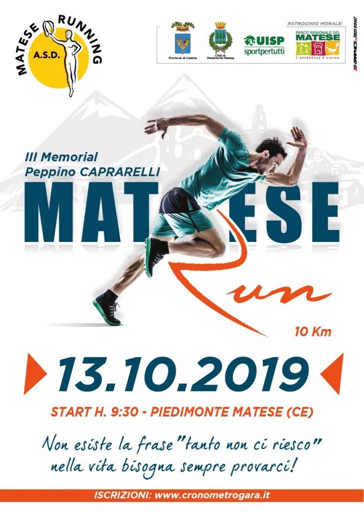 """MATESE RUN"""" III Trofeo Peppino CAPRARELLI""""  Caserta: Domenica il podismo corre a Piedimonte Matese, start ore 9:30"""