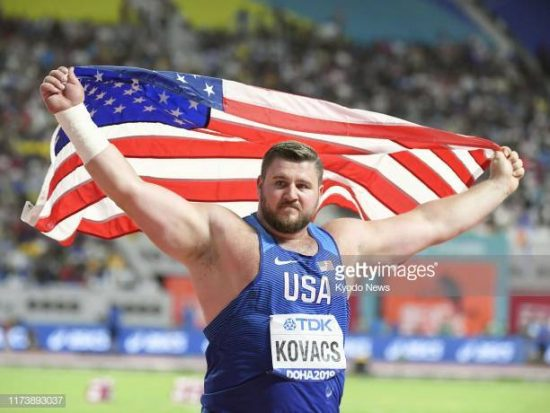 Joe Kovacs of the United States celebrates after winning the men's shot put at the athletics world championships in Doha on Oct. 5, 2019. (Photo by Kyodo News via Getty Images)