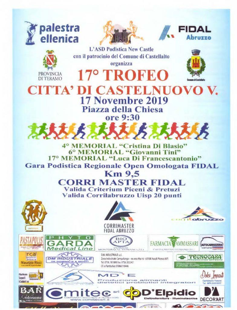 Trofeo Città di Castelnuovo Vomano: appuntamento con la 17°edizione domenica 17 novembre